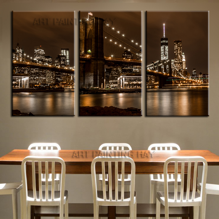 3 piece sale Modern Mural New York Brooklyn Bridge Home Decorative Art Paint on canvas frameless