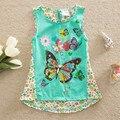 Summer Girls T shirt Cute Embroidered Butterfly Kids Clothes Brand Girls Sleeveless Top Children T Shirts Kids  Tees