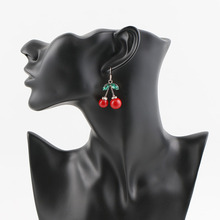 Classic Women Jewelry Pretty Crystal Red Cherry Drop Earrings for Women Girls Pary Accessories