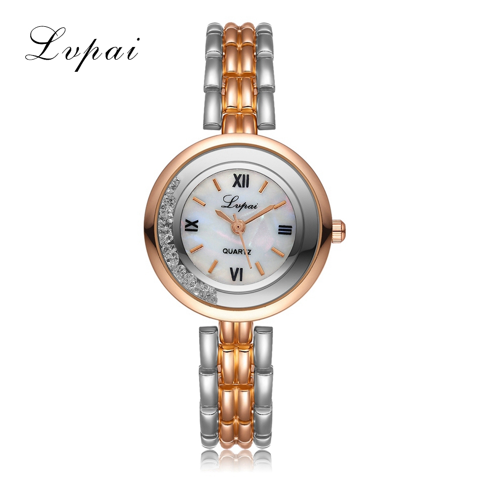 Lvpai 2017 New Women Gold Bracelet Quartz Watch Steel Dress Fashion Female Ladies Wristwatch Luxury Crystal Bracelet Watches new lvpai fashion 2017 luxury rhinestone watches women stainless steel quartz watch for ladies dress watch gold bracelet clock