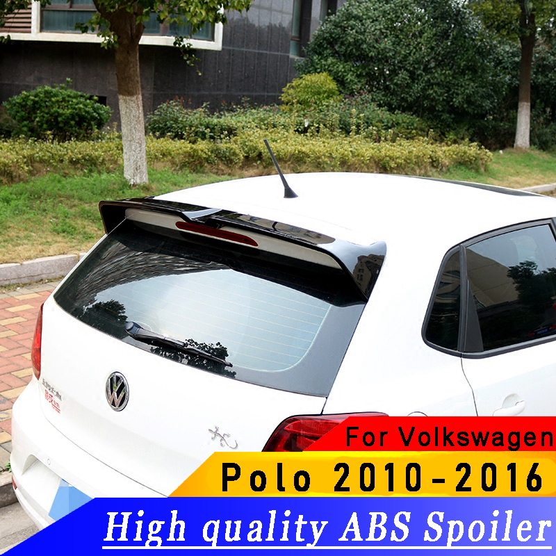 High quality ABS spoiler for Volkswagen VW Polo 2010 2016 year spoiler primer or DIY color car rear wing spoiler for Polo