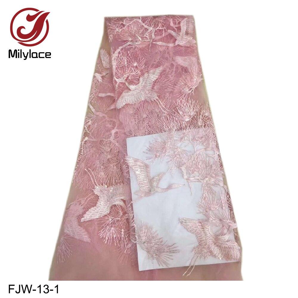 Milylace einzigartige design Afrikanische spitze stoff 5 meter weichen mesh spitze mit zarten kran stickerei glänzenden pailletten für party FJW 13-in Spitze aus Heim und Garten bei  Gruppe 2