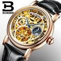 Suiza BINGER relojes hombres de lujo marca Tourbillon Relogio Masculino resistente al agua relojes mecánicos B-1171-2
