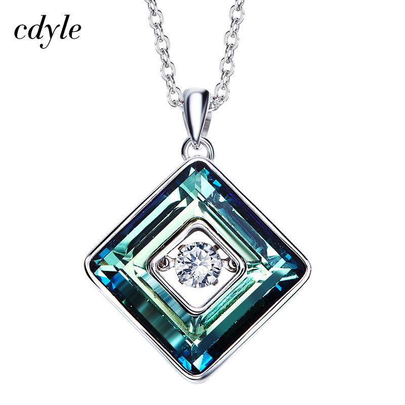 Cdyle Green Square Embellished with crystals Necklace S925 Sterling Silver Gift Clear Dancing Stone Fine JewelryCdyle Green Square Embellished with crystals Necklace S925 Sterling Silver Gift Clear Dancing Stone Fine Jewelry