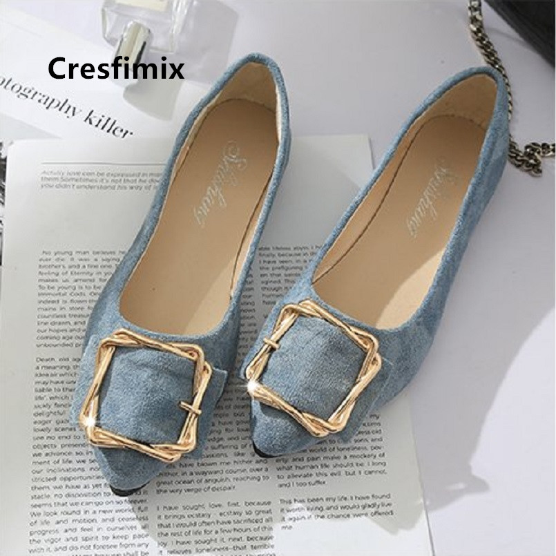 Cresfimix Zapatos De Mujer Women Cute Sweet Light Blue Slip On Flat Shoes Lady Casual Pointed Toe Shoes Black Office Shoes C5252