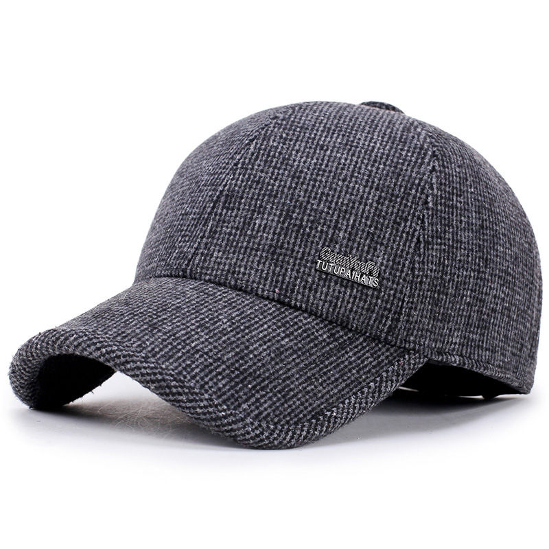 Middle-aged and old hat warm winter earmuffs   baseball     cap   thick wool hat hat   cap   men's outdoor sports cotton   cap