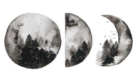 Waterproof Temporary Fake Tattoo Stickers Watercolor Grey Moon Phase Forest  Design Body Art Make Up Tools