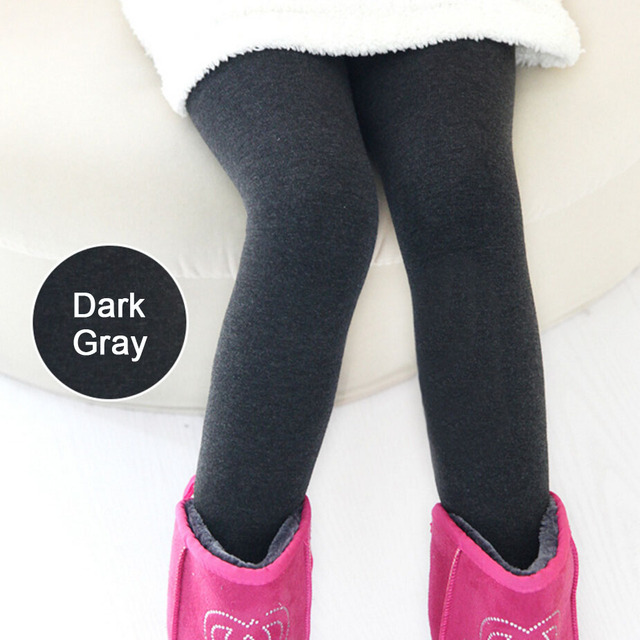2ff6bdb04e629 2017 Winter Children's Thick Warm Fleece Lined Leggings Kids Thermal  Stretchy Pants for Little Girls Gray