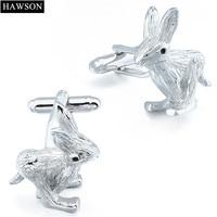 HAWSON Rabbit Cufflinks Lapel Pin Set Novelty Animal Jewelry for Shirt with Luxury Box