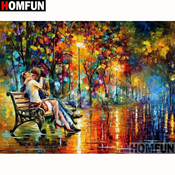 HOMFUN Full Square/Round Drill 5D DIY Diamond Painting Couple oil painting Embroidery Cross Stitch Home Decor Gift A18232