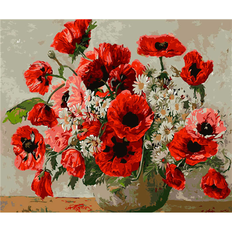 YIKEE decorative canvas oil painting by numbers,by numbers paint FLOWER