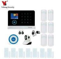 Yobang Güvenlik WIFI Gsm Alarm Sistemi Ev Için APP Kontrolü IP Kamera SMS Alarm Akıllı Kablosuz Kızılötesi Dedektör Mavi Siren Alarm