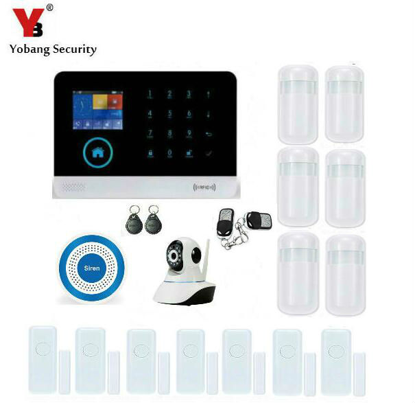 Yobang Security WIFI Gsm Alarm System For Home APP Control IP Camera SMS Alarm Smart Wireless Infrared Detector Blue Siren Alarm bulk order price best ethernet alarm wireless tcp ip alarm gsm alarm system for smart home security protection alarm with app