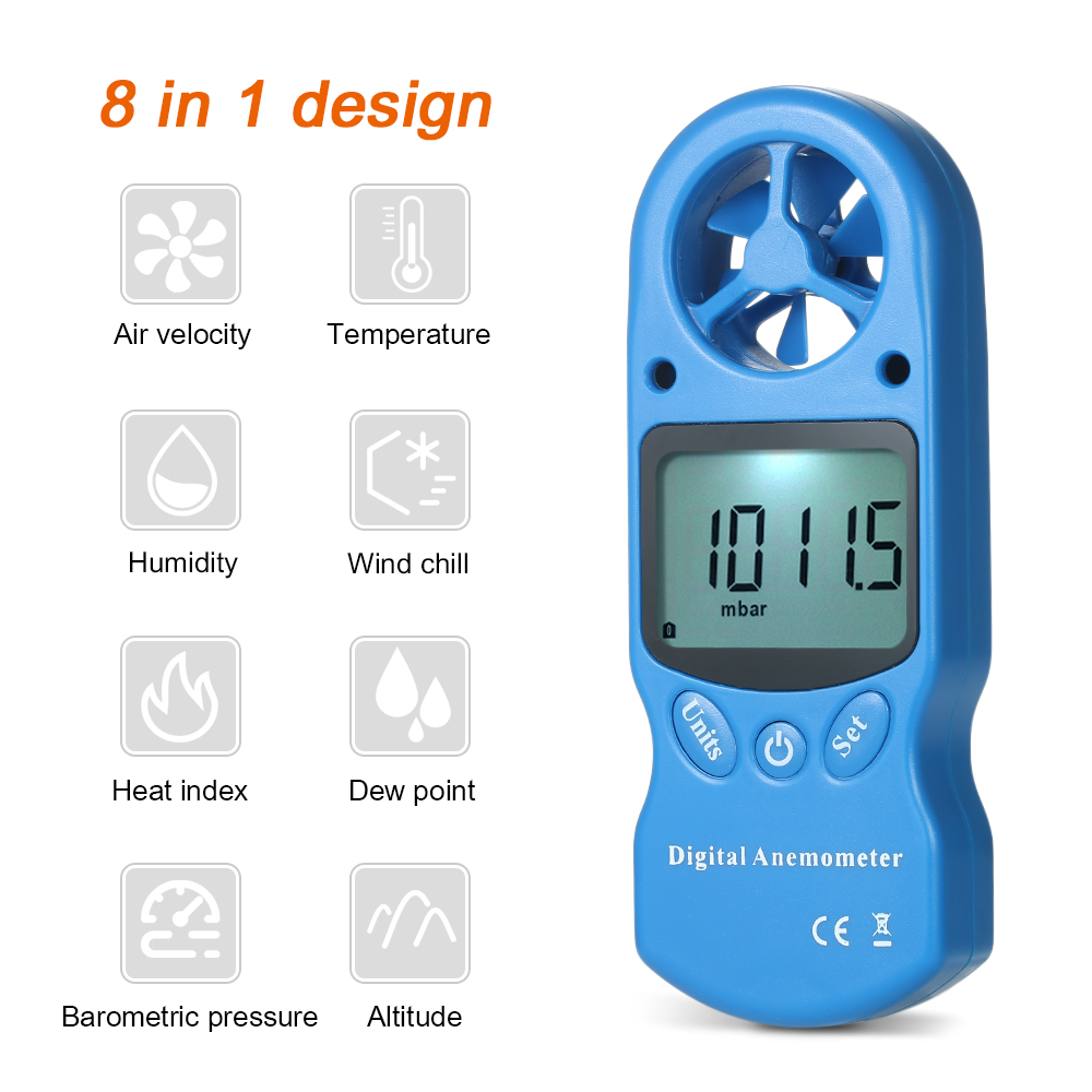 8 in mini Digital Anemometer Wind Speed/Temperature/Humidity/Wind Chill/Heat Index/Dew Point/Barometric Pressure/Altitude Meter portable lcd digital manometer pressure gauge ht 1895 psi air pressure meter protective bag manometro pressure meter