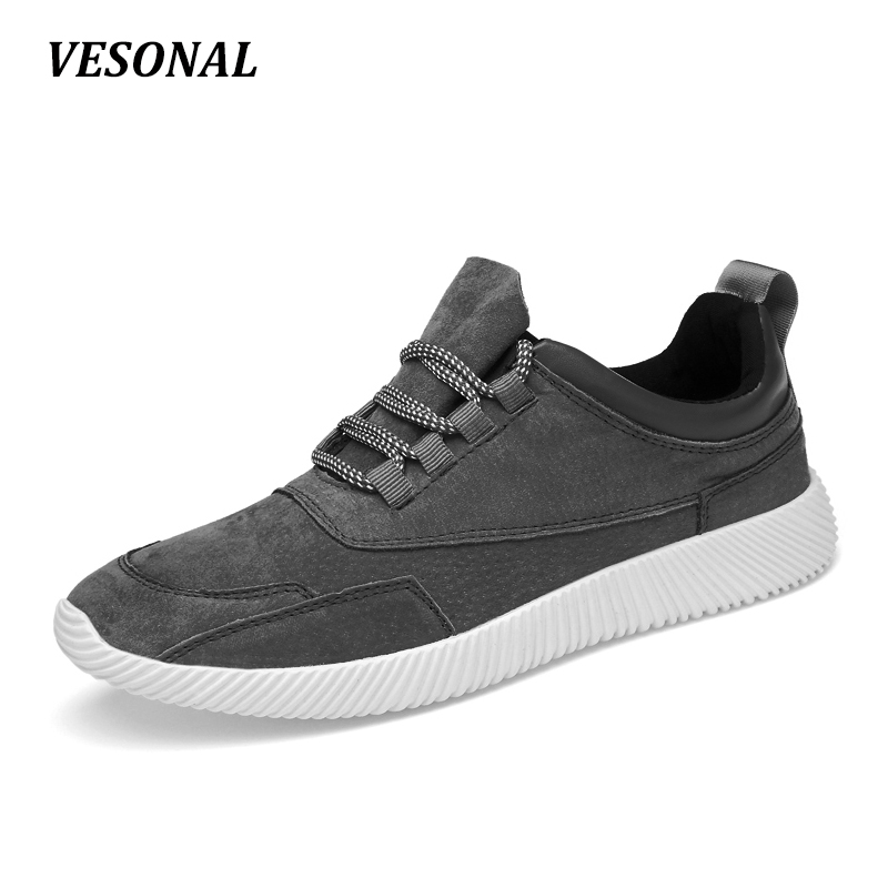 VESONAL High Quality Footwear Genuine Leather Pigskin Men Shoes Male Patchwork Man Casual Breathable Walking Mens Black 6805 male casual shoes soft footwear classic men working shoes flats good quality outdoor walking shoes aa20135