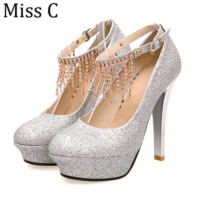 6ce85cc4e Elegant Rhinestone Beading Women High Heels 2017 Fringe Bling Pumps Thin  Heel Lady Shoes Platform For Wedding Size 34-43 WHH531