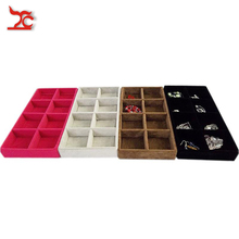 Free Shipping New Arrival 11*22*3cm High Quality Velvet 8 Grids Tray Jewelry Display Box
