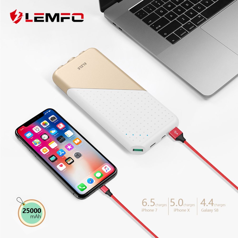 LEMFO Power Bank 20000mah Quick Charge External Battery High Power Rechargeable Led Flashlights Free Shipping Powerbank 25000Mah