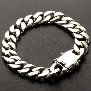 big men's bracelet 100% real 925 silver braslet for menbraslet for men 12mm 23cm