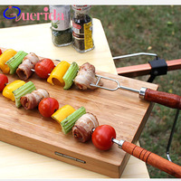 5Pcs/Set BBQ Outdoor Food Grade Stainless Steel Wood Handle Bag Roast Needle Barbecue Fork With Storage Bag BBQ Accessories Tool