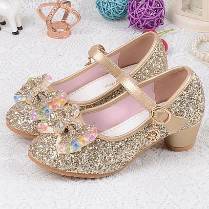 Sapatos de Lantejoulas das crianças Enfants 2016 Casamento Meninas Do Bebê Da Princesa Crianças sapatos de Salto alto Vestido Sapatos de Festa Para A Menina Rosa Azul Ouro 540d