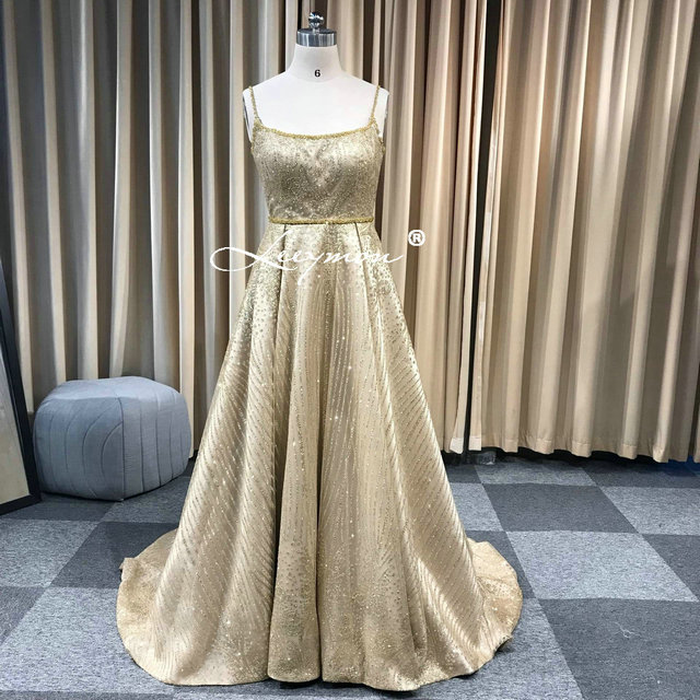 Leeymon 2019 fait sur commande or paillettes Spaghetti bretelles a-ligne robe de bal longueur de plancher robes - 6