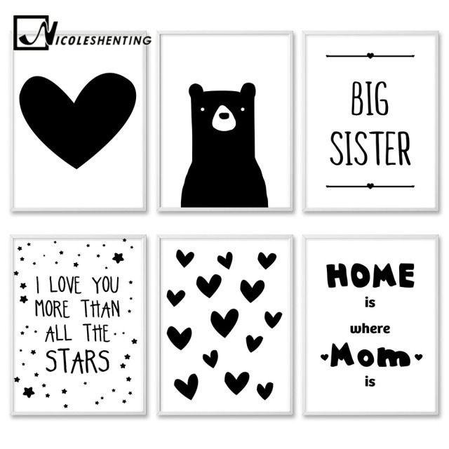 Kawaii black white bear heart cartoon wall art canvas posters nursery print nordic style painting picture