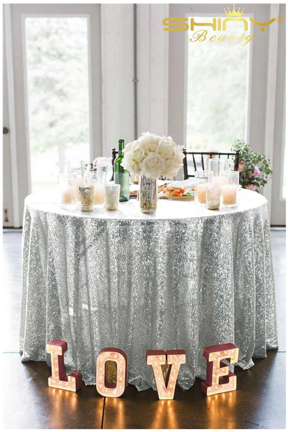 sequin tablecloth 72 inch round for wedding party Decoration Sparkle Tablecloth for Wedding Party Christmas Decorations Silv