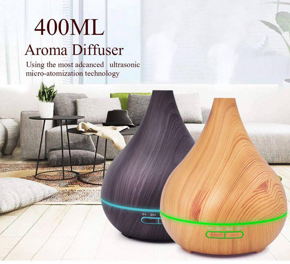 Wood grain purification air ultrasonic humidifier, ultra quiet home, office 7 color LED light sesame oil diffuser.400 ml of H