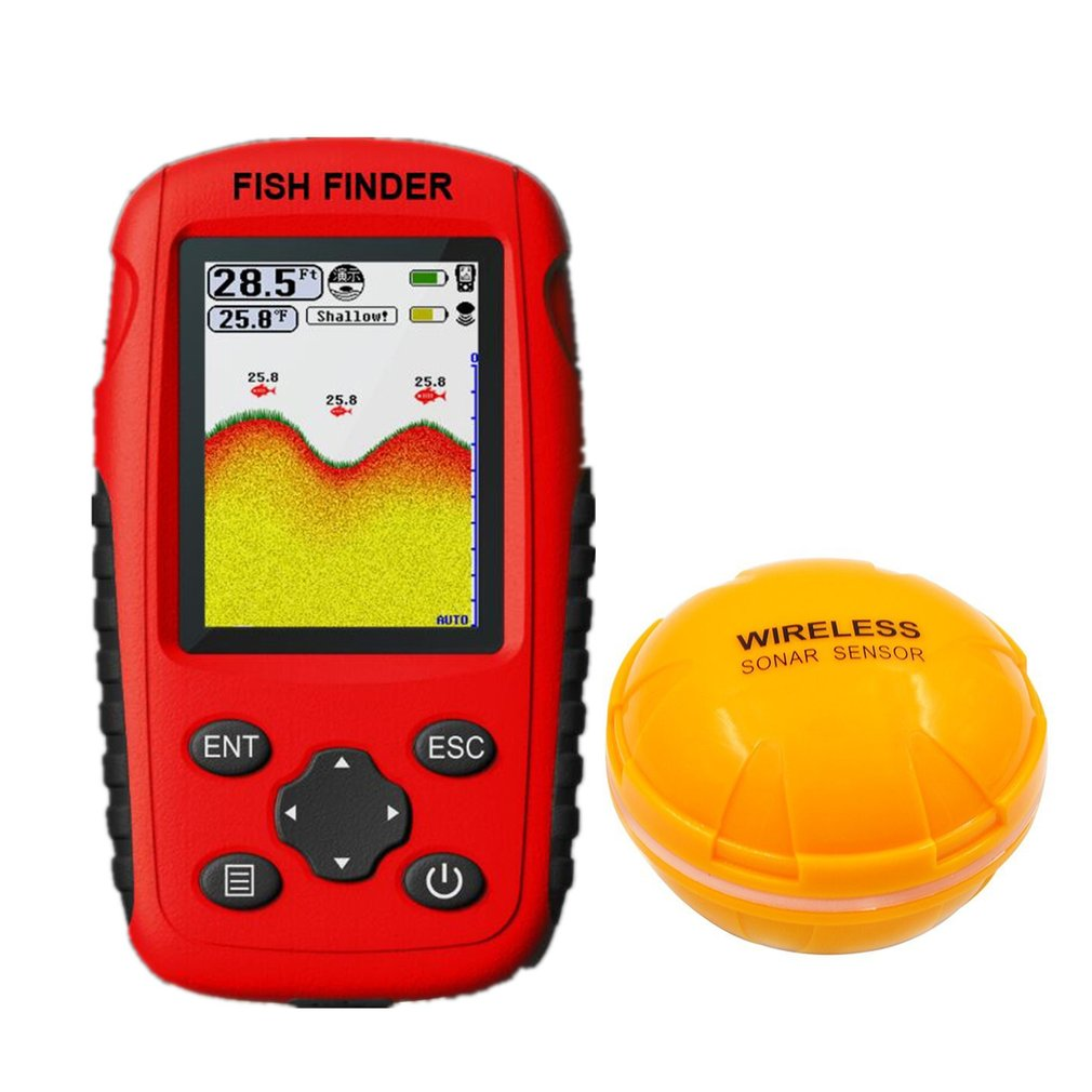 Smart Portable Fish Finder Echo Sounder with Wireless Sonar Sensor for Depth Sea Lake Fish Detector Device|Frequency Meters| |  - title=