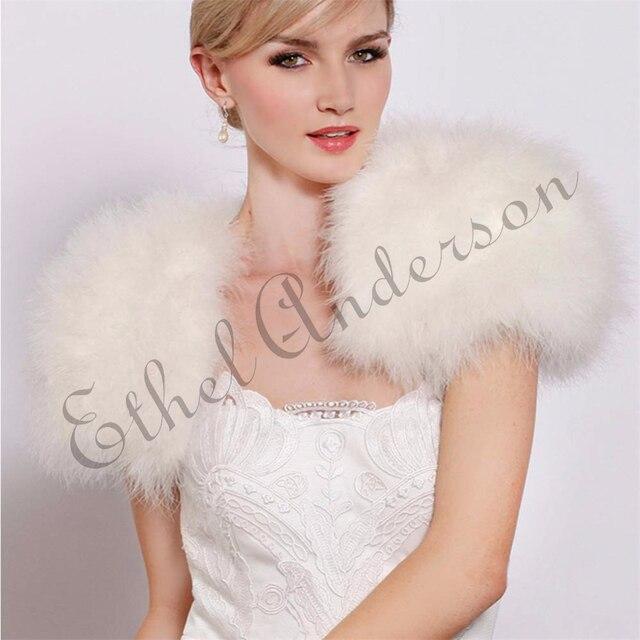842dc1e2c1 Blush Pink/ White Luxurious Ostrich Fur Feather Boleros Bridal Fur Shawl  Marriage Shrug Coat Bride Winter Wedding Party Boleros