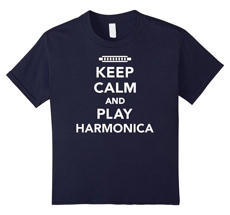 Shirt Shop O-Neck Short Keep Calm And Play Harmonica 100% Cotton Mens Tee