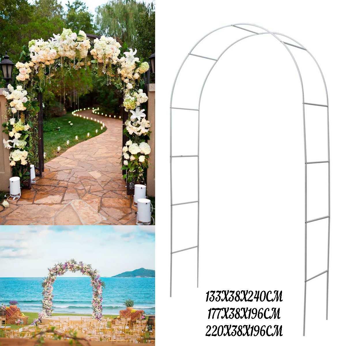 Arc en métal blanc Base verticale pôle présentoir ensemble de mariage fête nuptiale bal jardin décoration florale fête fournitures