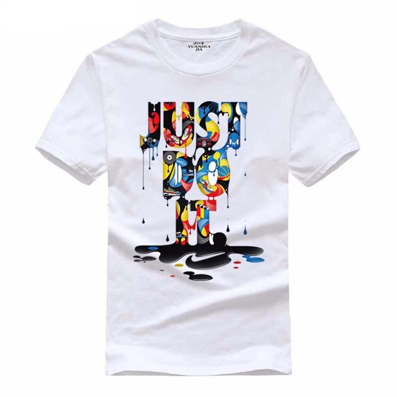 2017, Новая мода Just Do It футболка брендовая одежда хип-хоп Письмо печати Для мужчин футболка короткий рукав Аниме Высокое качество футболка Для...