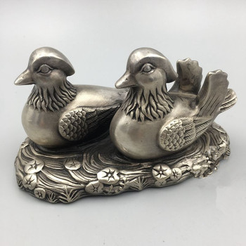 TNUKK  China's rare miao silver mandarin duck statue wedding gift metal crafts home decoration.