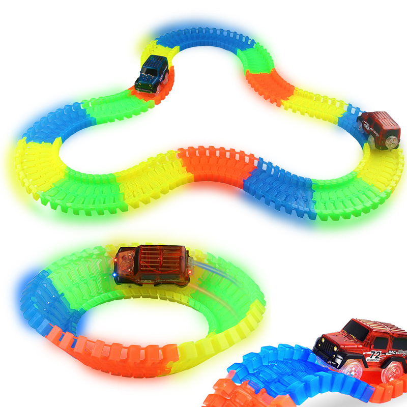 Flexible Track DIY Toy Slot Car Kit with LED Light Car glows in the dark Racing Track Toys Slot Car Gift for children kids