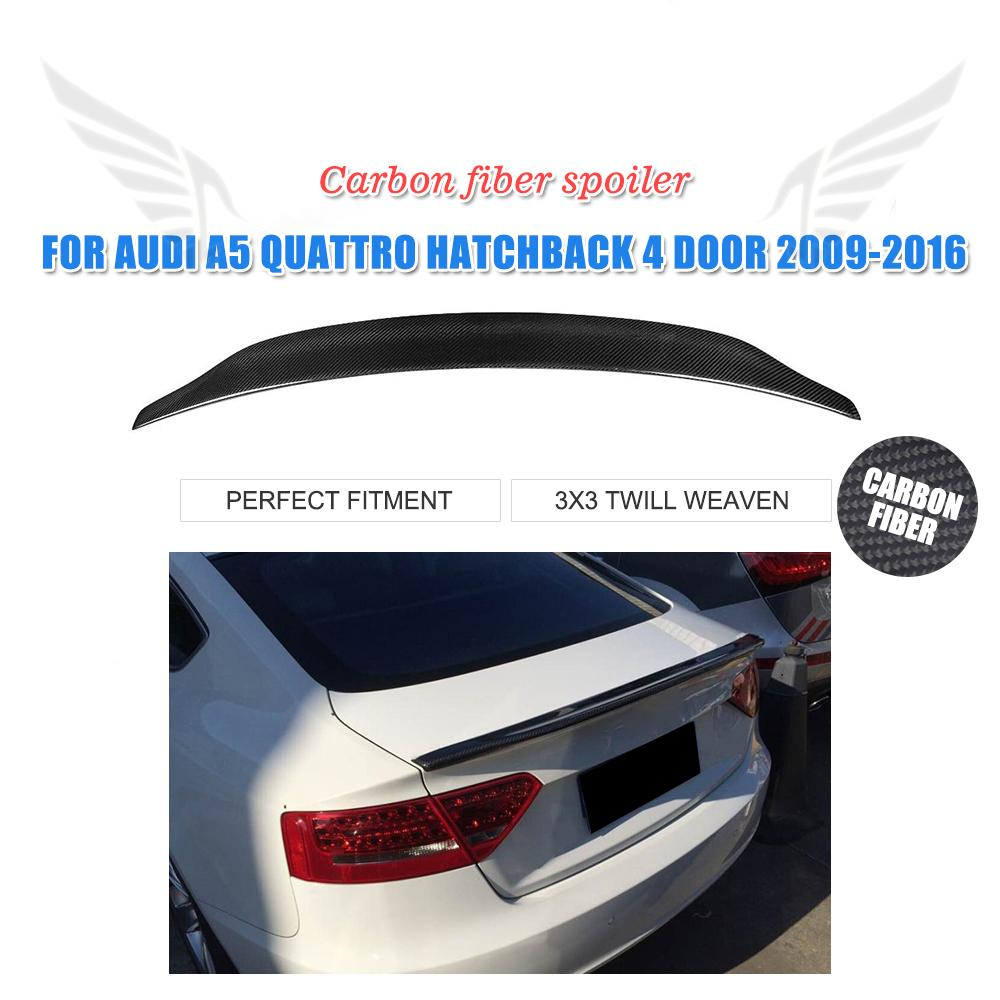 Rear Spoiler Boot Lip Wing for <font><b>Audi</b></font> <font><b>A5</b></font> Quatto <font><b>Sportback</b></font> 4-Door 2009 - 2016 Trunk Spoiler Carbon Fiber / FRP Unpainted image
