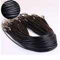 "2Pcs 2mm Twisted Braided Rope Black/Brown Leather Cord Chain 20"" Necklace Silver Clasp String Rope For Women"