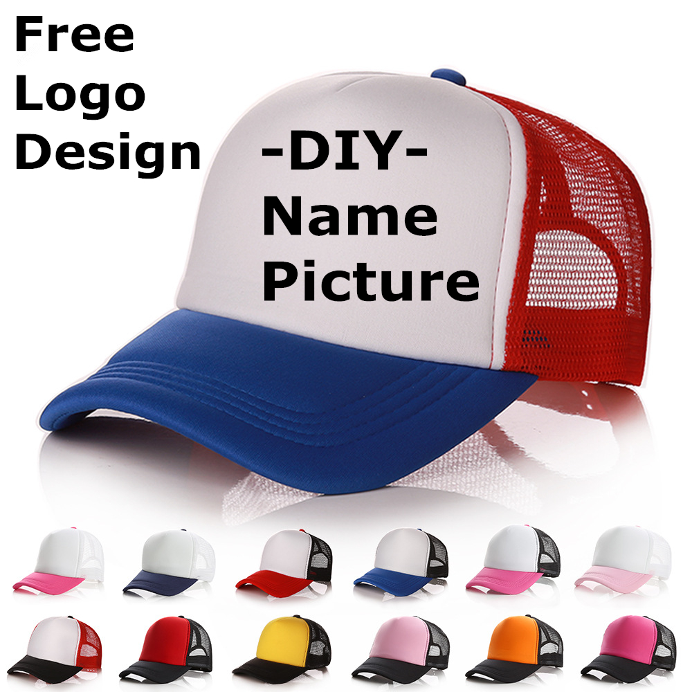Factory Price! Free Custom LOGO Design Personality DIY Trucker Hat Baseball Cap Men Women Blank Mesh Adjustable Hat Adult Gorras