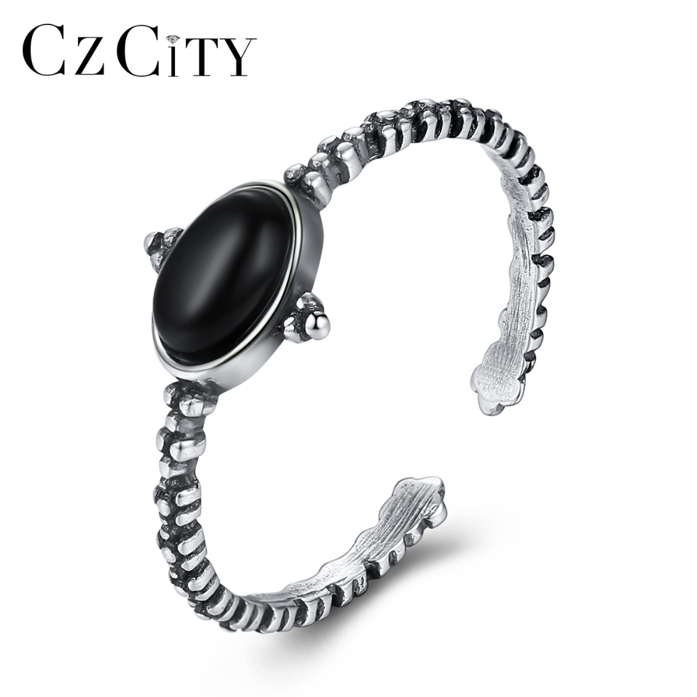 CZCITY Fascinating Sterling Silver 925 Open Rings For Women Created Obsidian Fashion Wedding Ring Fine Jewelry Halloween Gifts