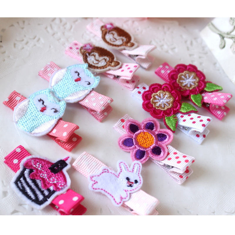 F73 Free shipping sale female baby headdress hairpin Embroidered double hair accessories A birthday present 5pcs/lot