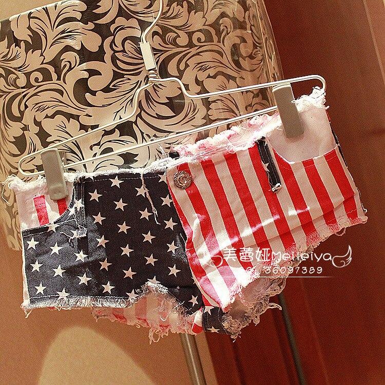 US Flag Tassel Sexy Jeans Shorts Sexy Denim Booty Shorts Vintage Cute Low Rise Waist Micro Mini Short 35