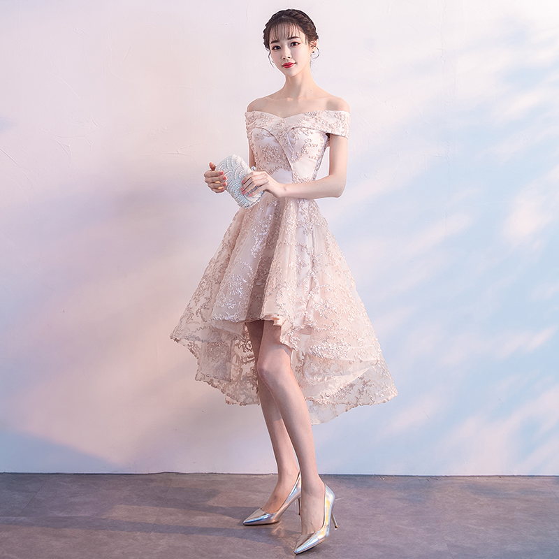 Elegant Boat Neck Off The Shoulder Champagne Lace High Low Bridesmaid Dresses 2018 New Plus Size