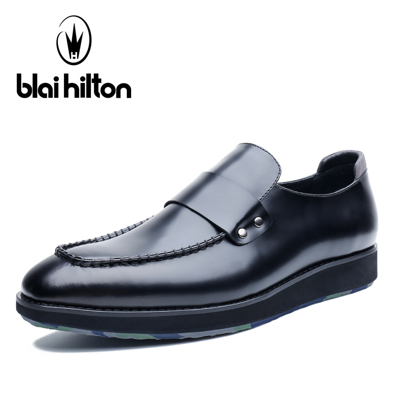 Blai Hilton 2018 New Fashion Spring/Autumn men shoes Genuine Leather Breathable/Comfortable Business Men's Casual Loafers Shoes aiyuqi 2018 new spring genuine leather female comfortable shoes bow commuter casual low heeled mother shoes woeme