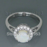 Vintage Round 6mm 18Kt White Gold Natural Opal Engagement Rings Settings G09032