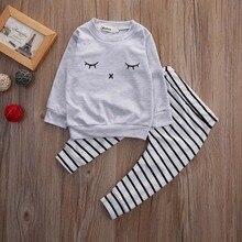 Eyelash T-shirt Long Sleeve + Striped Pants Casual 2pcs Outfits