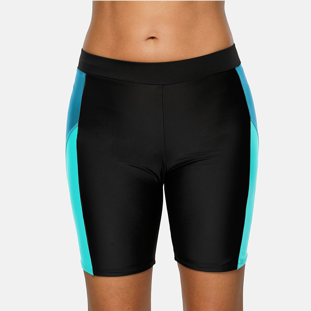 Anfilia Women Sports Swimming Trunks Ladies Capris pants Bikini Bottom Boy Shorts Swimwear Briefs patchwork Skinny Swim Shorts 2