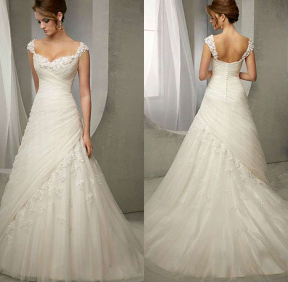 Wedding Gowns With Cap Sleeves: Graceful Bride Dress 2015 Sweetheart Neckline Cap Sleeve