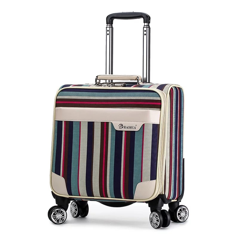 New Women Retro stripe 18 inch PU Rolling Luggage mala Spinner brand Colorful Trolley Suitcase vs