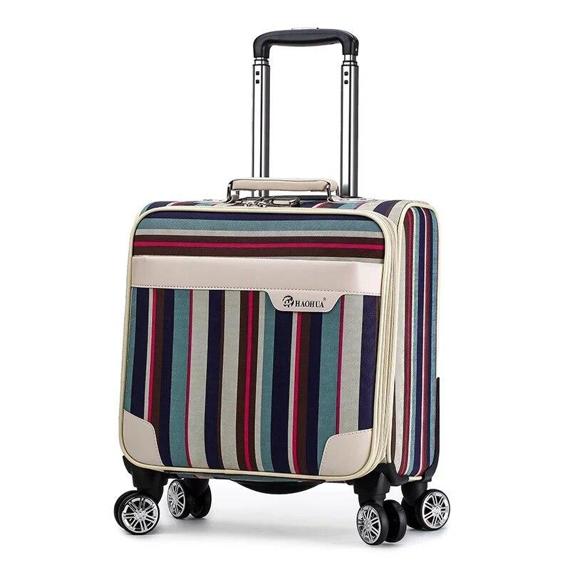 Neue Frauen Retro streifen 18 zoll PU Roll Gepäck mala Spinner marke Bunte Trolley Koffer vs schöne reisetasche Gepäck tasche-in Trolleys aus Gepäck & Taschen bei  Gruppe 1